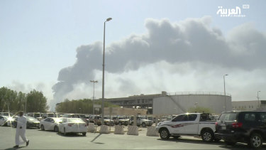 An image made from a video broadcast on the Saudi-owned Al-Arabiya satellite news channel showing smoke from a fire at the Abqaiq oil processing facility.