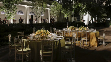 A preview of the table settings for the state dinner hosted by US President Donald Trump and Melania Trump in the Rose Garden of the White House.