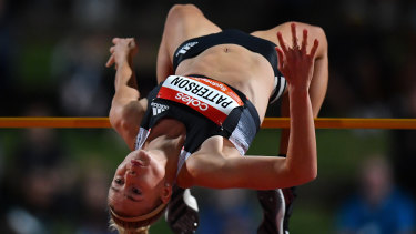 Eleanor Patterson clears the bar at the Sydney Track Classic earlier this month.