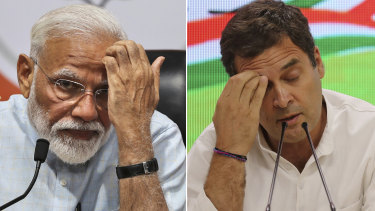 Indian Prime Minister Narendra Modi, left, and Rahul Gandhi from the opposition Congress party.