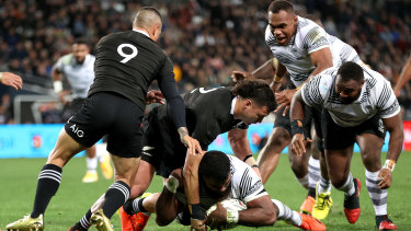 Albert Tuisue of Fiji dives over to score a try against the All Blacks at Forsyth Barr Stadium in Dunedin on Saturday. The hosts won 57-23 but Fiji dominated the breakdowns and scored three tries against their  much more fancied opponents.