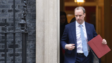 Britain's Foreign Secretary Dominic Raab leaves a meeting in Downing Street, London.