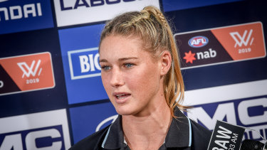 Carlton AFLW Tayla Harris speaking at a press conference about social media comments.