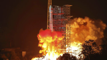 The Chang'e 4 lunar probe launches from the the Xichang Satellite Launch Centre in south-west China's Sichuan Province.