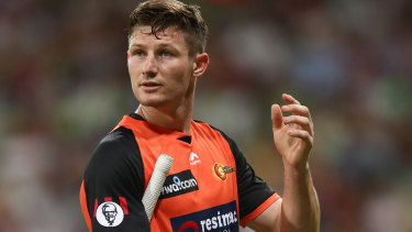 Scorched: Former Australian Test batsman Cameron Bancroft walks off after being dismissed by Jono Cook of the Thunder.