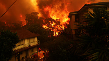 Fires threaten homes in Umina on the state's Central Coast this month.