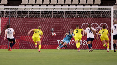 Teagan Micah saves apenalty in extra time against Great Britain.