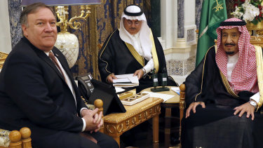 US Secretary of State Mike Pompeo, left, meets Saudi Arabia's King Salman in Riyadh, Saudi Arabia.