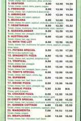 """The menu from Tony Mokbel's pizza parlour, including """"Tony's Special"""". Not exactly the stuff of multimillionaires."""