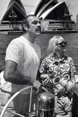 Connery with first wife Diane Cilento and son Jason on Sydney Harbour in 1968.