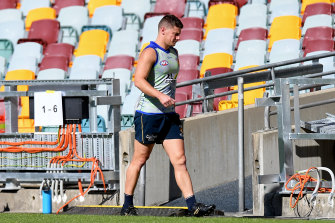 Dayne Zorko heads back in after a recent Lions training session.