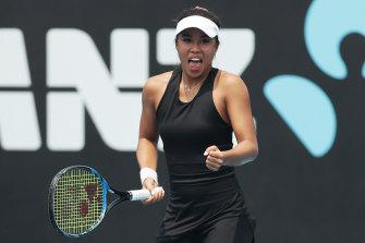 Lizette Cabrera celebrates her victory over Kristyna Pliskova.