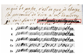 """A letter dated January 4, 1792 by Marie-Antoinette, queen of France and wife of Louis XVI, to Swedish count Axel von Fersen, with a phrase (outlined in red) redacted by an unknown censor. The bottom half shows results from an X-ray fluorescence spectroscopy scan on the redacted words. The copper (Cu) section reveals the French words, """"non pas sans vous"""" (""""not without you"""")."""