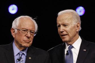 Democratic presidential candidates Bernie Sanders, and former vice-president Joe Biden.