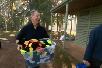 Caulfield MP David Southwick delivering the socks on Sunday.