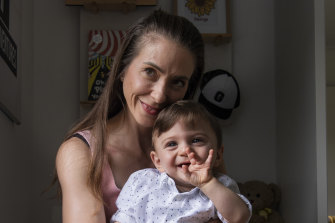 Danielle Rizk's sone George, 14 months, was born at 23 weeks and two days gestation.