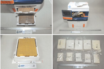 Packages of cocaine found concealed in Xerox printers.