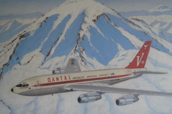 A painting of a Qantas 707 flying past Mount Rainier near Seattle.
