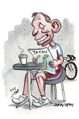 Tony Abbott is clocking up the kilometres on his bike before hitting the speakers' circuit. Illustration: John Shakespeare