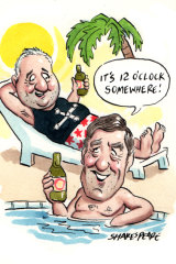 Dave Noonan and Michael O'Connor on holiday. Illustration: John Shakespeare