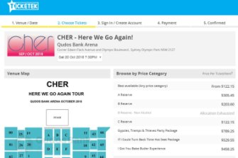 Cher tickets were selling for $305.45 on Friday, June 1.