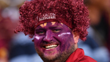 A Queensland fan before State of Origin Game III between the Queensland Maroons and the New South Wales Blues at Suncorp Stadium in Brisbane, on July 12, 2017.