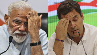 Indian Prime Minister Narendra Modi and Rahul Gandhi, from the opposition Congress party.