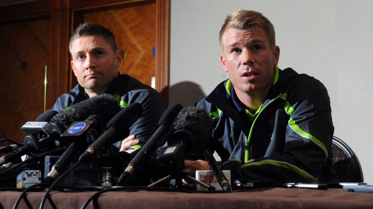 Then Australian skipper Michael Clarke (left) with firebrand David Warner in 2013.