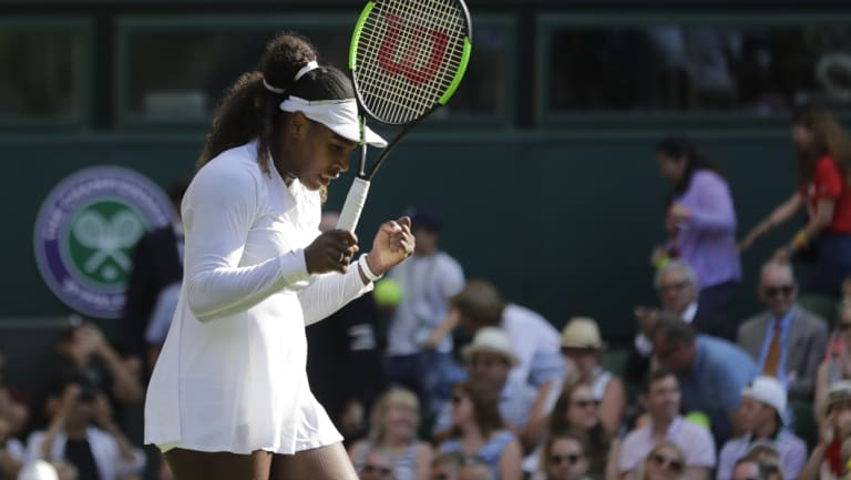 Serena Williams celebrates during her Wimbledon round two victory.