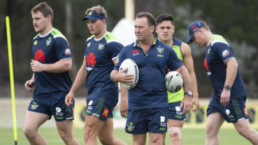 Canberra Raiders coach Ricky Stuart at preseason training.