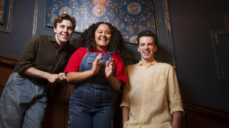 The new generation of wizards: (l-r) Sean Rees-Wemyss (Albus Potter), Manali Datar (Rose Granger-Weasley) and William McKenna (Scorpius Malfoy).