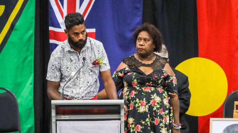 Bonita Mabo's grandson Kaleb Cohen, reads his 'Letter to Nornie', a letter he wrote to Bonita just before she passed away and she asked him to read at her service. With him is Gail Mabo, daughter of Bonita.