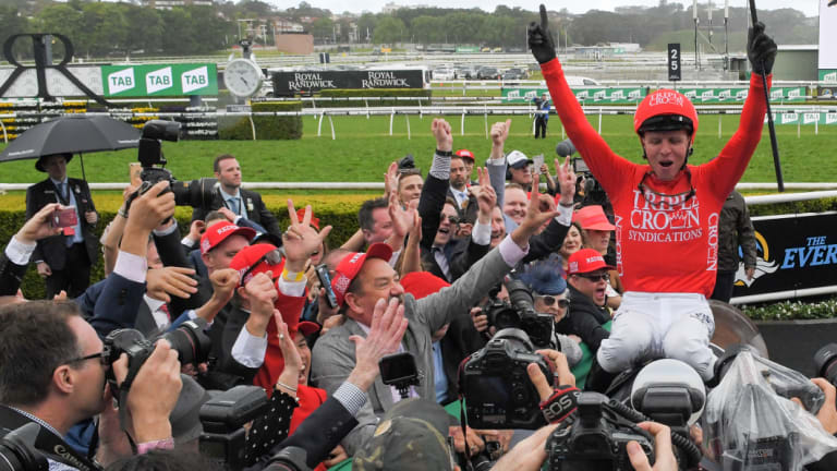 Red-letter day: Kerrin McEvoy receives a hero's welcome on Redzel.