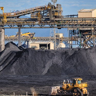 Coal stockpiles at the Gladstone port.