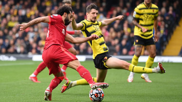 Mohamed Salah takes on Watford's defence en route to goal.