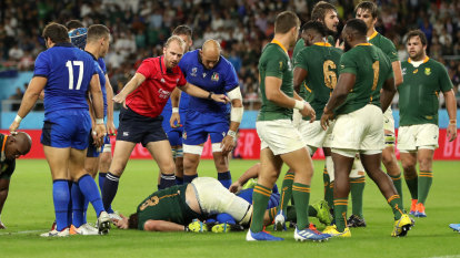 Springboks outmuscle 14-man Italy after ugly spear tackle