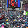 Tens of thousands of demonstrators march during a protest in the Causeway Bay district of Hong Kong, China, on Sunday