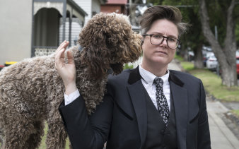 Hannah Gadsby with her dog, Douglas.