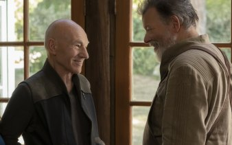 Patrick Stewart as Jean-Luc Picard and Jonathan Frakes as Will Riker in the Amazon Prime Video series Star Trek: Picard.