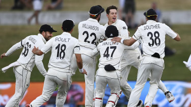 Mitchell Santner and New Zealand celebrate a remarkable win in the first Test against Pakistan.