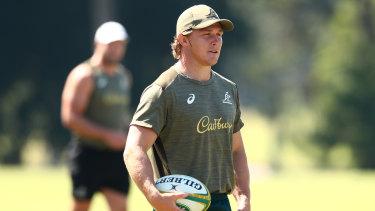 Michael Hooper at Australian training on Saturday.