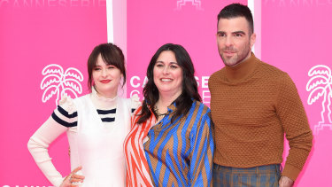 Australian actress Ashleigh Cummings, NOS4A2 creator Jami O'Brien and Zachary Quinto in Cannes, France, this year.
