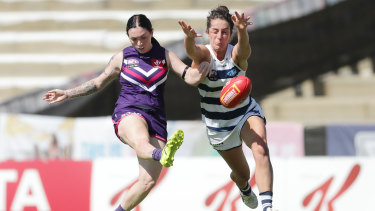 On target: Sabreena Duffy sends another kick goalward against Geelong.