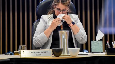 Casey mayor Susan Serey fights back tears at Tuesday night's final council meeting.