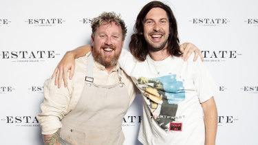 Melbourne-based DJ Generik (right) with Estate Coogee Beach chef Mathew Butcher.