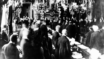 Representatives of the Allies and Germany gather in Versailles, France on 28 June, 1919 for the signing of the treaty marking the end of World War I.