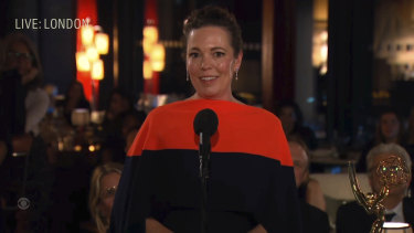 The Crown wins big: actress Olivia Colman accepts her Emmy.