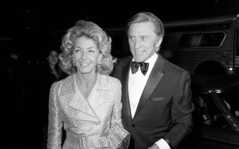 Douglas and his wife Anne at the premier of Fiddler on the Roof in Los Angeles in 1971.