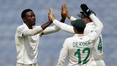 A rare moment of celebration on a tough day in the field for South Africa.