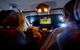 Rain didn't dampen Tilly and Matthew's movie experience at Dandenong's Lunar Drive-in last night.